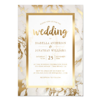 Modern Bronze & Marble Wedding Magnetic Card