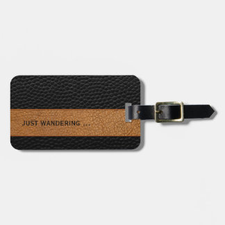 Modern Brown and Black Leather Print Luggage Tag