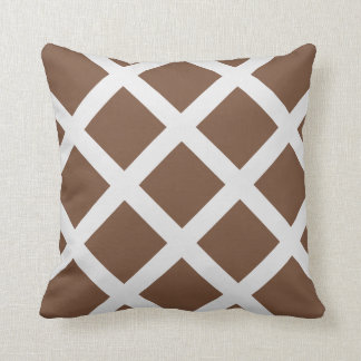 Modern Brown and White Criss Cross Stripes Throw Pillow
