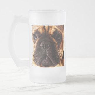 modern brown big French Bulldog Frosted Glass Beer Mug