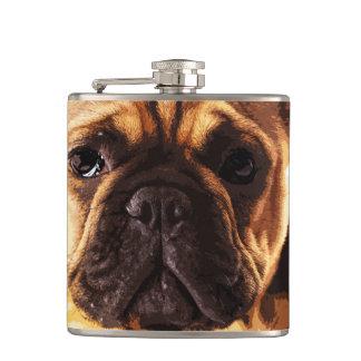 modern brown big French Bulldog Hip Flask