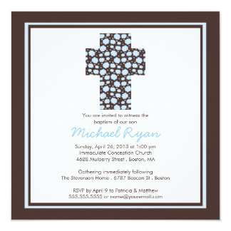 Modern baptism invitations announcements zazzle ca modern brown blue cross boys baptism invitation stopboris Choice Image
