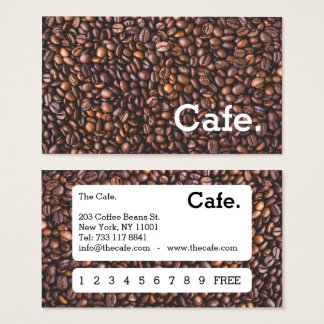 Modern brown coffee beans loyalty punch-card cafe business card
