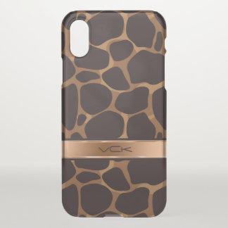 Modern Brown & Copper Leopard Print iPhone X Case