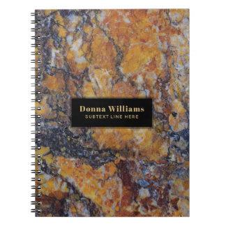 Modern Brown Faux Marble Stone Template Notebook
