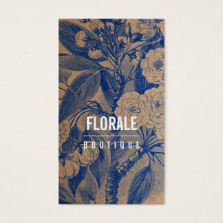 Modern brown paper chic vintage flowers blue paint business card