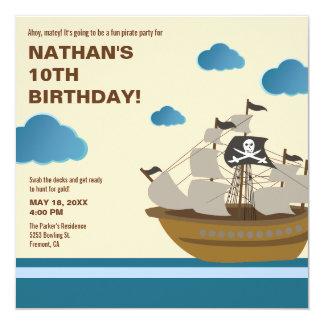 Modern Brown Pirate Ship Birthday Party Invitation