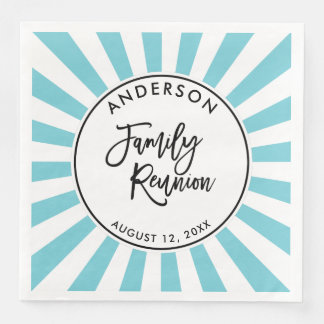 Modern Brush Script and Stripes Family Reunion Paper Napkin