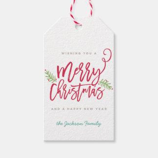 Modern Brush Script Bright Christmas Gift Tag