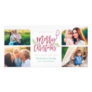 Modern Brush Script Christmas Holiday 4-Photo Custom Photo Card