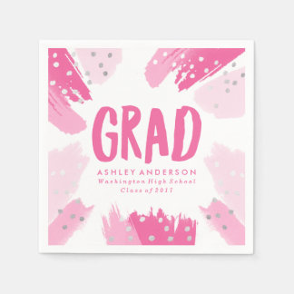 Modern Brush Strokes | Graduation Paper Napkins