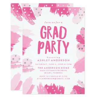 Modern Brush Strokes | Graduation Party Invitation
