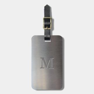 Modern Brushed Metal Look Monogram Luggage Tag