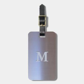 Modern Brushed Metal Look S01 Monogram Luggage Tag