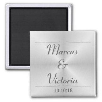 Modern Brushed Metal Wedding Magnet