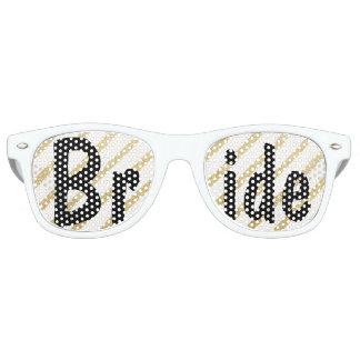 Modern brushstrokes gold stripes wedding Bride Retro Sunglasses