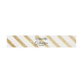 Modern brushstrokes gold stripes wedding invitation belly band