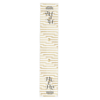 Modern brushstrokes gold stripes wedding medium table runner