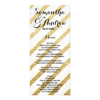 Modern brushstrokes gold stripes wedding menu rack cards