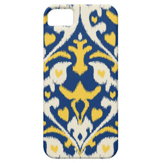 Modern buff yellow blue ikat tribal pattern case for the iPhone 5
