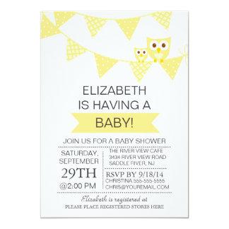 Modern Bunting Owl Gender Neutral Baby Shower Card