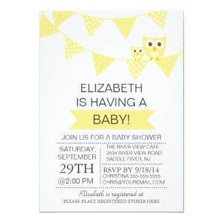 "Modern Bunting Owl Gender Neutral Baby Shower 5"" X 7"" Invitation Card"