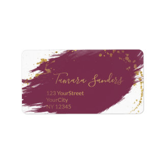 Modern Burgundy Gold Paint Strokes - Address Label