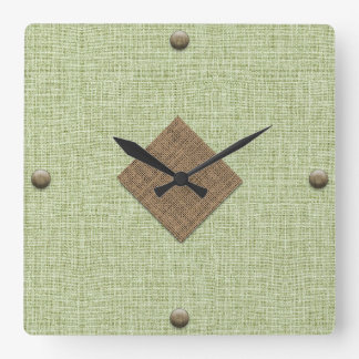 Modern Burlap in Mint and Brown with Wood Buttons Clock