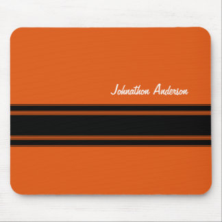 Modern Burnt Orange Racing Stripes With Name Mousepad