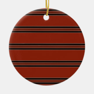 Modern Burnt Red Orange Stripe Pattern Ceramic Ornament