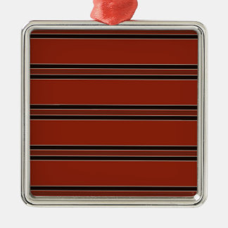 Modern Burnt Red Orange Stripe Pattern Metal Ornament