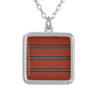Modern Burnt Red Orange Stripe Pattern Silver Plated Necklace