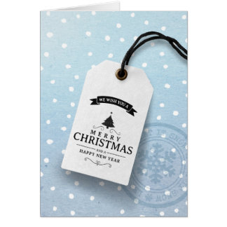 Modern Business Christmas Card Blue Label Snow