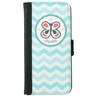 Modern Butterfly Personalized Chevron Kids Decor iPhone 6 Wallet Case