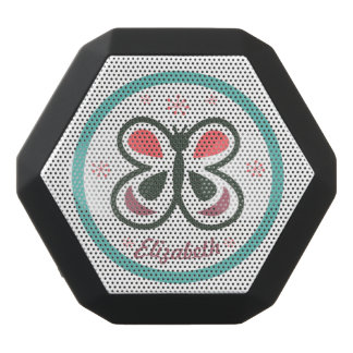 Modern Butterfly Personalized Chevron Kids Design Black Bluetooth Speaker