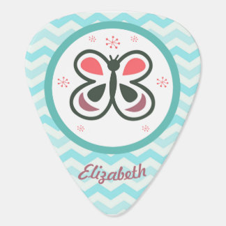 Modern Butterfly Personalized Chevron Kids Design Guitar Pick