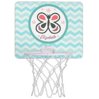 Modern Butterfly Personalized Chevron Kids Design Mini Basketball Hoop
