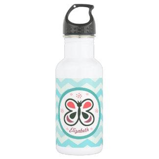Modern Butterfly Personalized Chevron Kids Gift 532 Ml Water Bottle