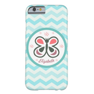 Modern Butterfly Personalized Chevron Kids Gift Barely There iPhone 6 Case