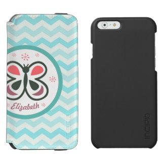 Modern Butterfly Personalized Chevron Kids Gift Incipio Watson™ iPhone 6 Wallet Case