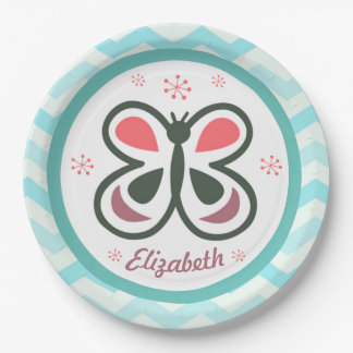 Modern Butterfly Personalized Chevron Kids Gift Paper Plate