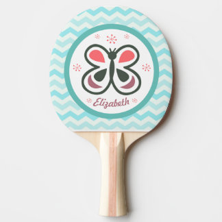 Modern Butterfly Personalized Chevron Kids Gift Ping Pong Paddle