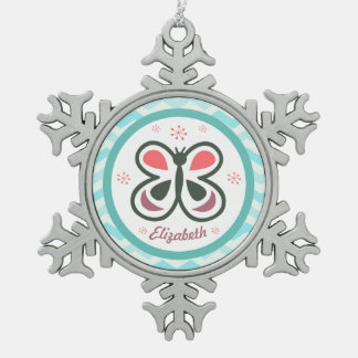 Modern Butterfly Personalized Chevron Kids Gift Snowflake Pewter Christmas Ornament