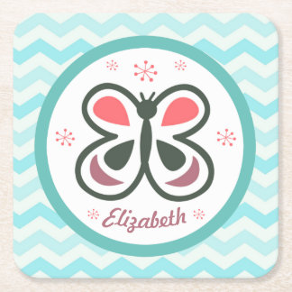 Modern Butterfly Personalized Chevron Kids Gift Square Paper Coaster