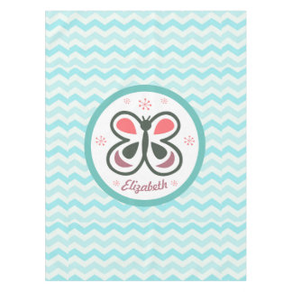 Modern Butterfly Personalized Chevron Kids Gift Tablecloth