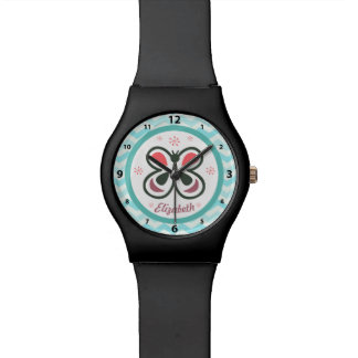 Modern Butterfly Personalized Chevron Kids Gift Watch