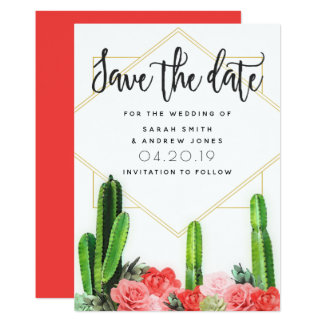 Modern Cactus, Succulent and Floral Save the Date Card