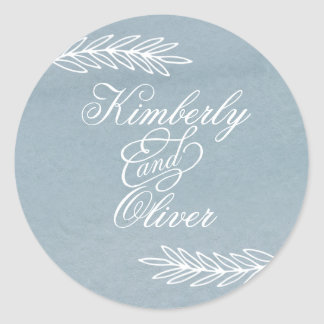 Modern Calligraphy Dusky Blue Wedding Invitation Classic Round Sticker