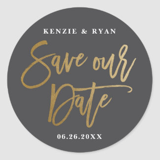 Modern calligraphy gold save the date sticker