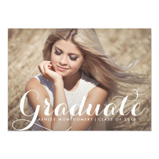 Modern Calligraphy Graduation Party Invitation